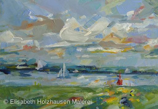 """Titel:""""rote Tonne"""", Blick auf die Elbe Richtung Lühe, Größe: 21 cm x 15 cm, Acrylmalerei auf MDF"""