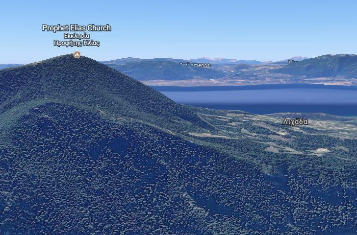 34300 Lichada-Der Berg des Propheten Elias und unser Dorf im Hintergrund