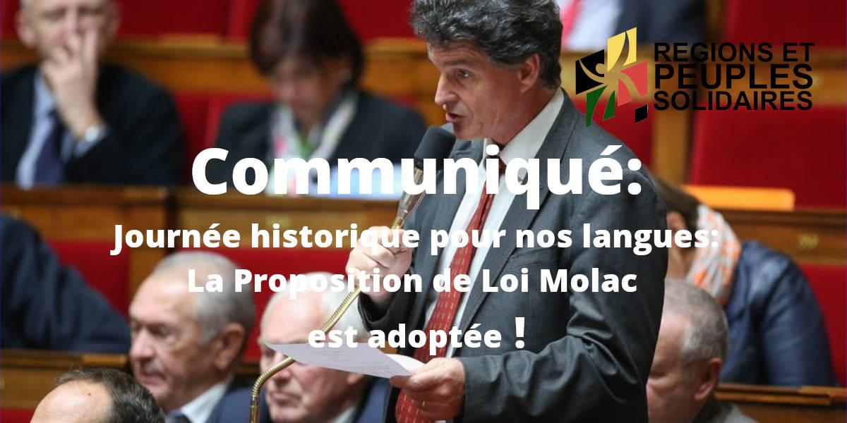 Journée historique pour nos langues: la Proposition de Loi Molac est adoptée !