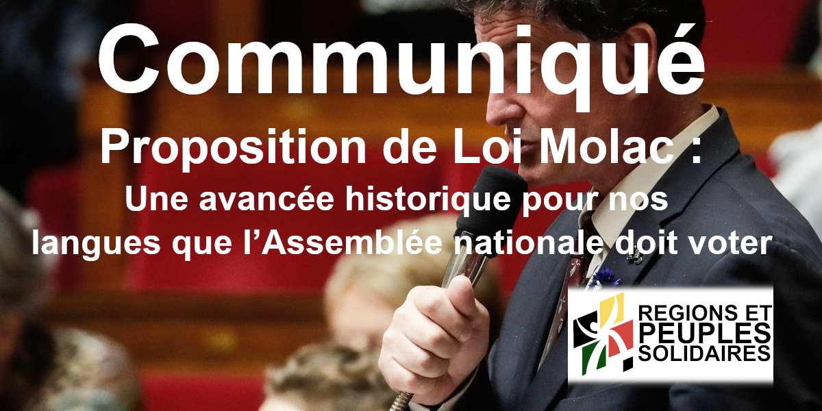 Proposition de Loi Molac :  Une avancée historique pour nos langues que l'Assemblée nationale doit voter