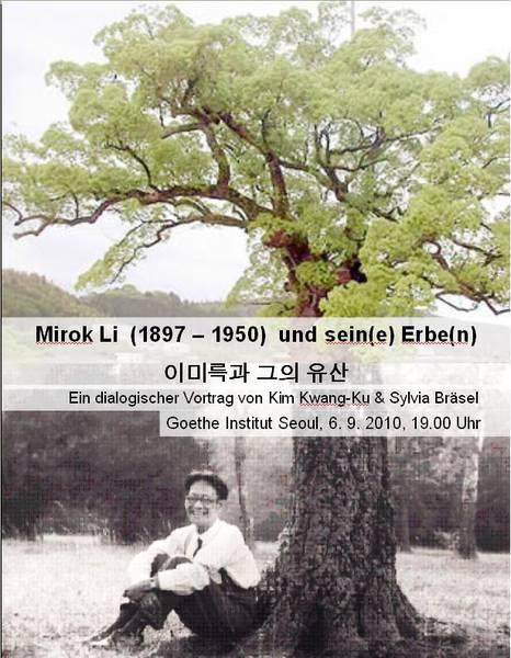 Poster 2010, Koreareise, Vortragsankündigung, Mirok Li und seine Erben