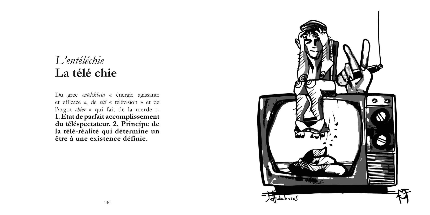 L'entéléchie - La télé chie / P 140-141 du Bestof2 -Texte Edith - Dessin Jeffdebures. Droits réservés - Reproduction interdite