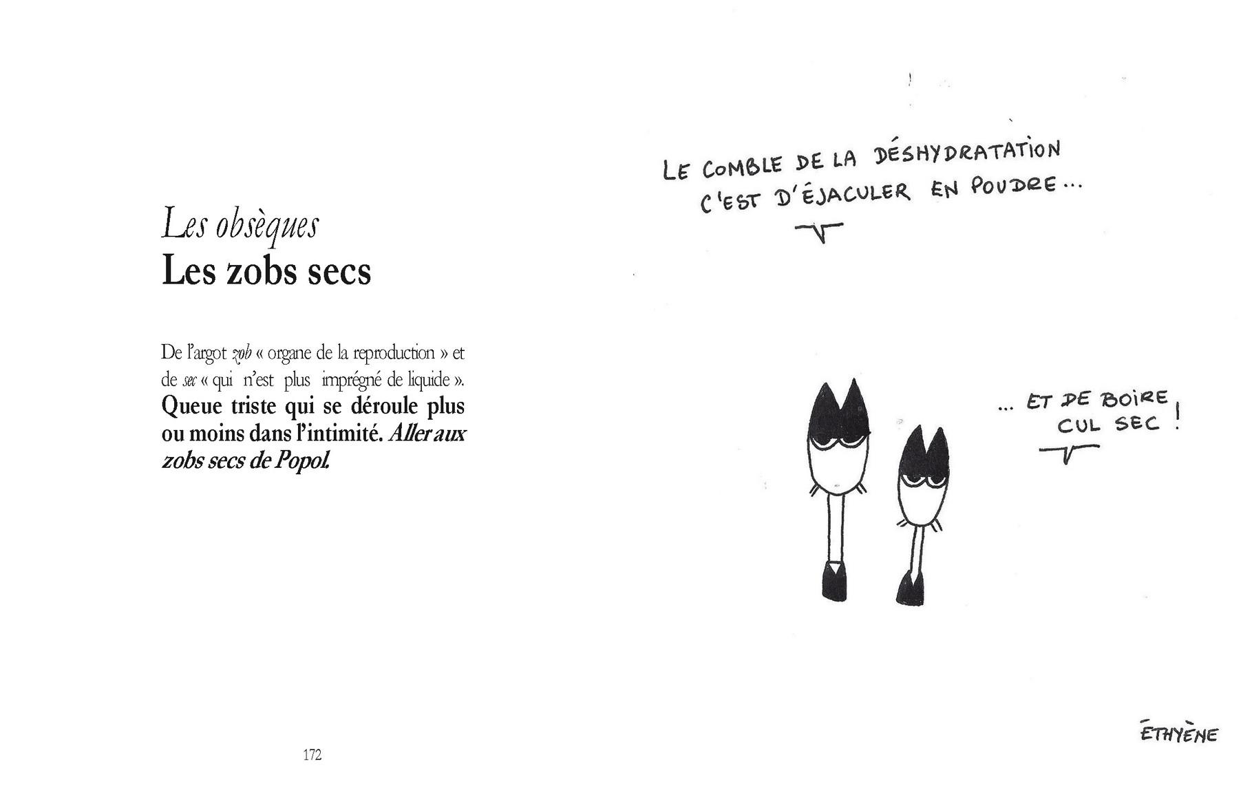Les obsèques - Les zobs secs /  P172-173 du Bestof 1 / Texte Edith - Dessin Ethyène -  Droits réservés  Reproduction interdite