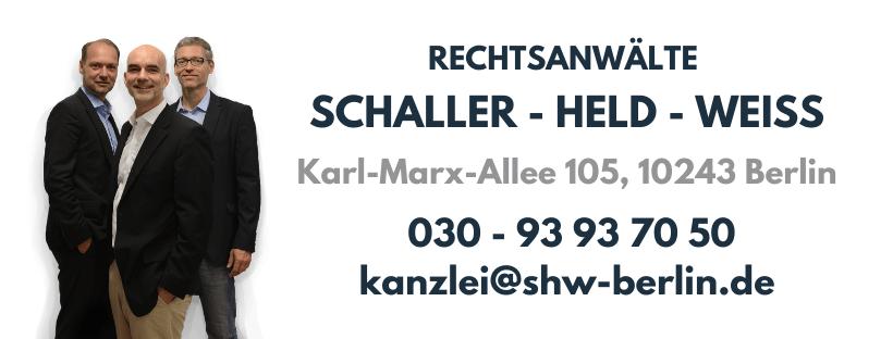 Rechtsanwälte Schaller, Held und Weiß - Kanzlei www.shw-berlin.de