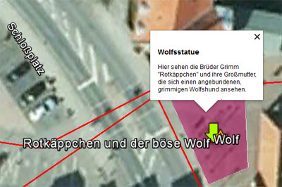 Ausschnitt der grafischen Darstellung eines Wherigo-Konzepts in Google Earth