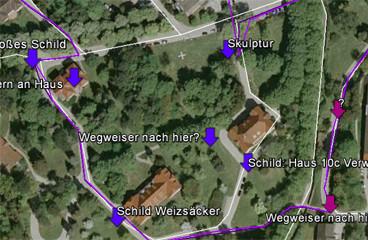 Ermittelte Punkte in Google Earth