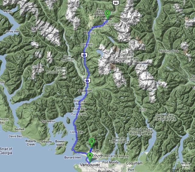 Klicke auf die Karte und Google-Earth zeigt unsere gewählte Route...