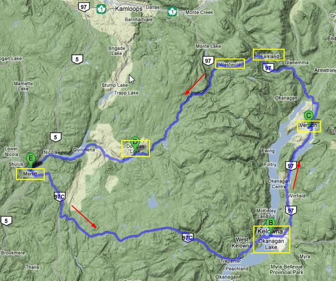Ausflug ins Okanagan. ( Mit Klick auf die Karte öffnet sich die Rundreise auf Google Maps )