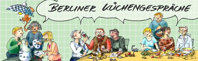 Menschen unterschiedlicher Nationalitäten kochen zusammen und sitzen an einem Tisch, um zu trinken, zu reden und das Essen zuzubereiten. Lustige Illustration mit vielen Charakteren und zwei Katzen..