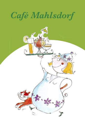 Eine Kaffeekanne, als Frau karikiert, trägt ein Tablett mit Eisbecher, Cocktail und Kaffeetasse. Daneben läuft eine rot-weiße Katze.