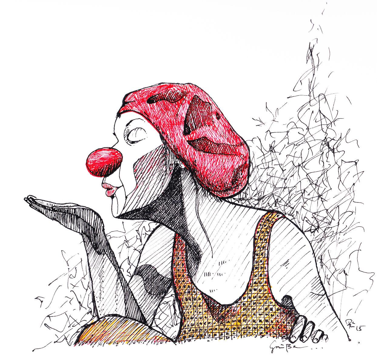 Grüße - Clownin und Tänzerin Mareike Franz . 2015 . 21x30cm . Fineliner auf Papier .