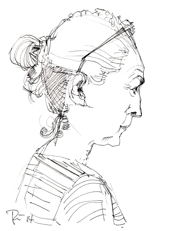 Weibliches Seitenporträt . 2014 . Fineliner