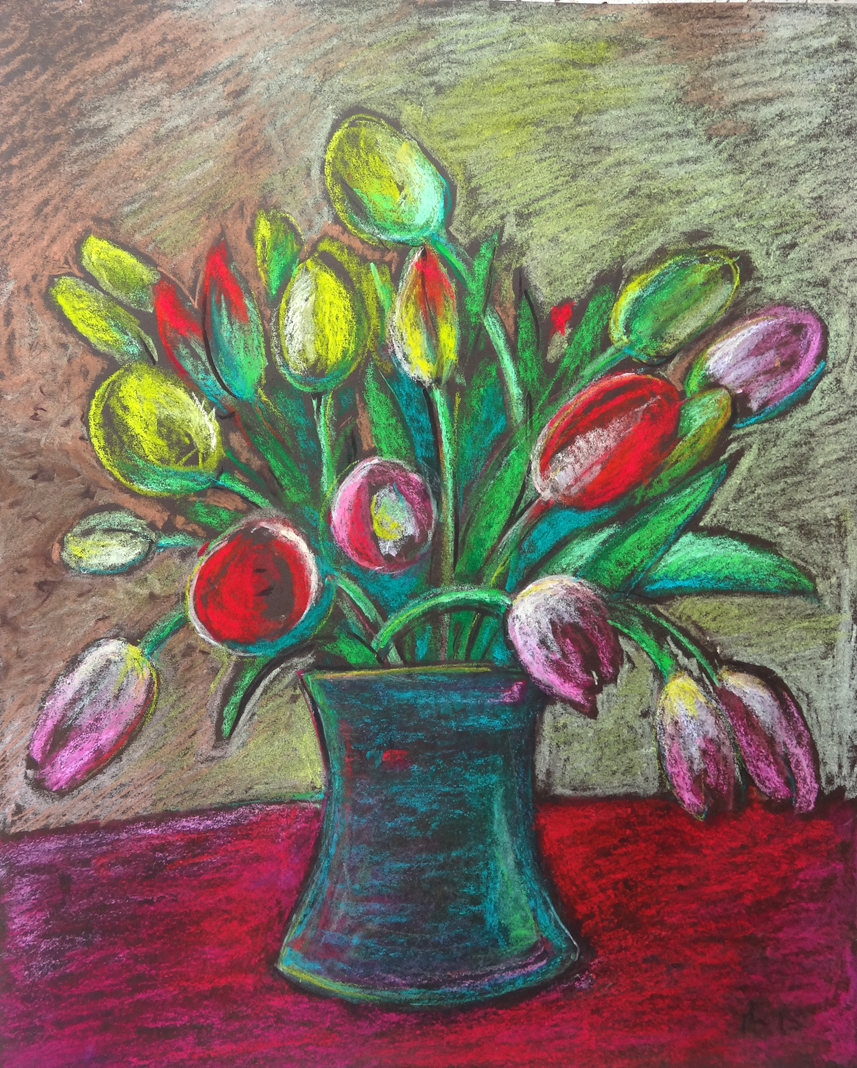 Ein herrlicher Frühlingstulpenstrauß in leuchtenden Farben mit Pastellkreide gezeichnet. A wonderful spring cuff bouquet in bright colours drawn with pastel chalk.