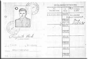 Spielerpass Karl Ringlaub.