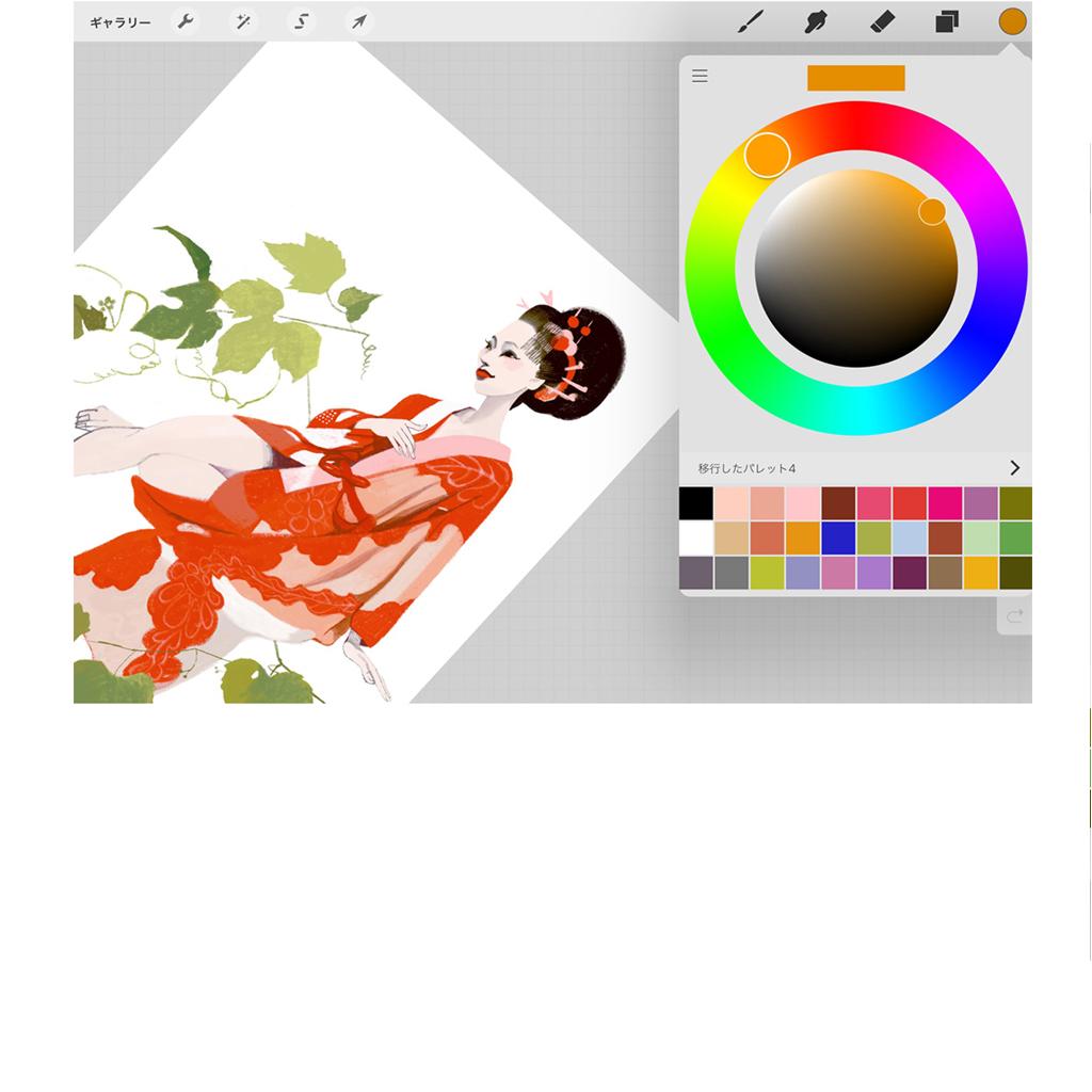キャンバスは大きさも角度も自由に変えながら描けます。細かく描きこみたければ拡大して描き、画面を小さくして、全体のバランスをチェックするのに便利。カラーリングウインドウを開けば、色彩を自由に呼び出せます。よく使う色はパレットに保存します。