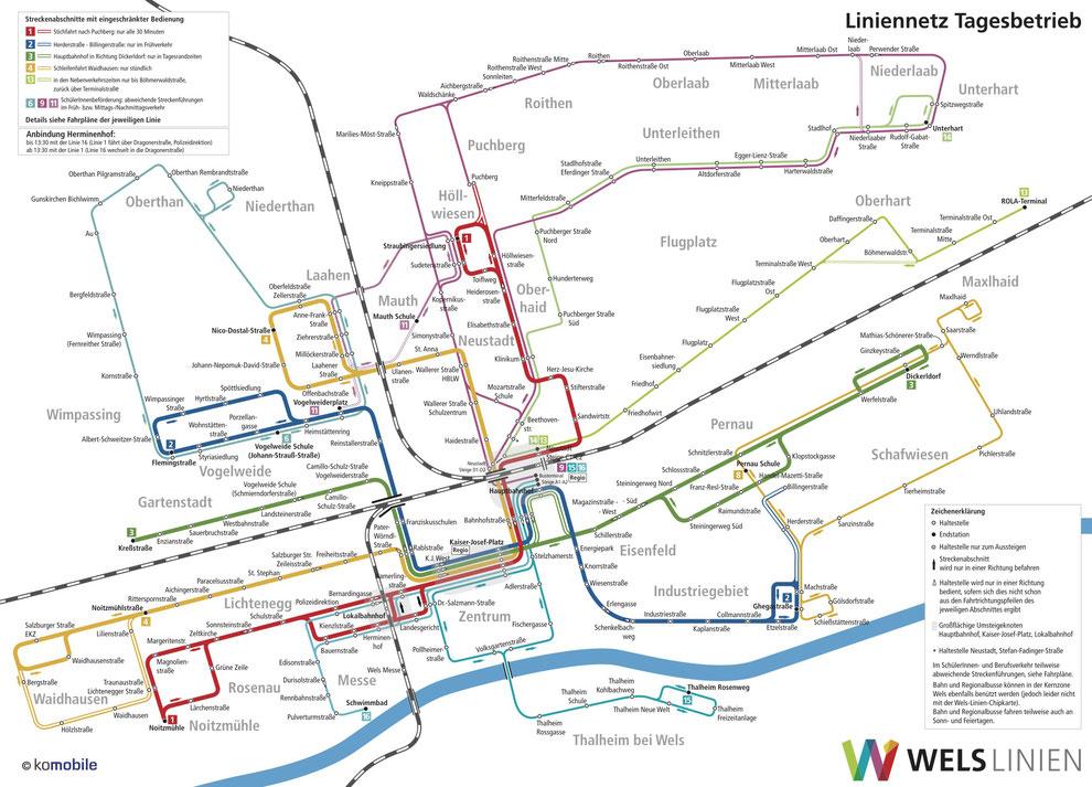 Liniennetz Tag Wels Linien