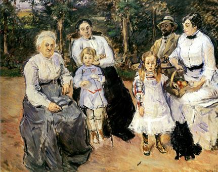 Familie Slevogt im Garten des Landhauses in Godramstein.