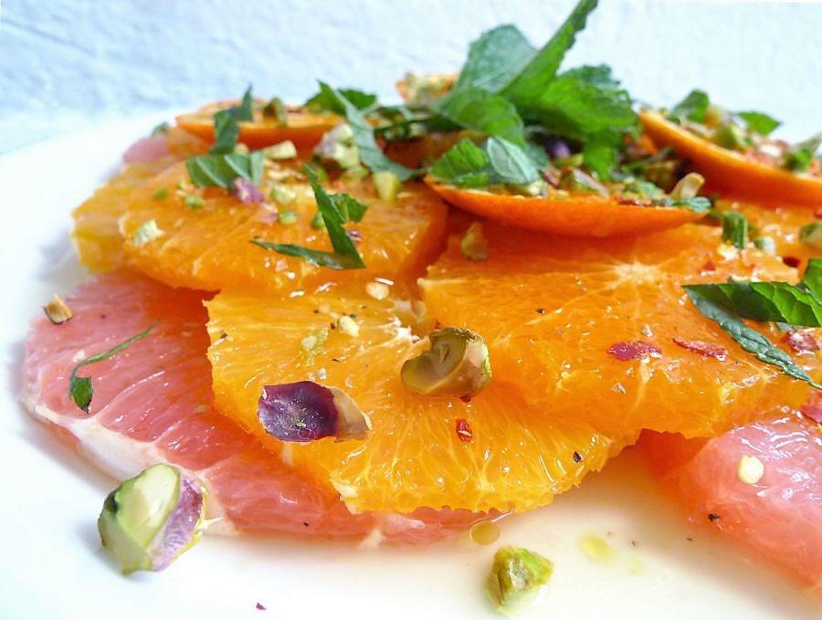 Salade van grapefruit, sinaasappel en mandarijn