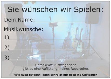 """Musikwunschkarte """"Sie wünschen, wir spielen"""" von Alleinunterhalter Kurt Wagner"""