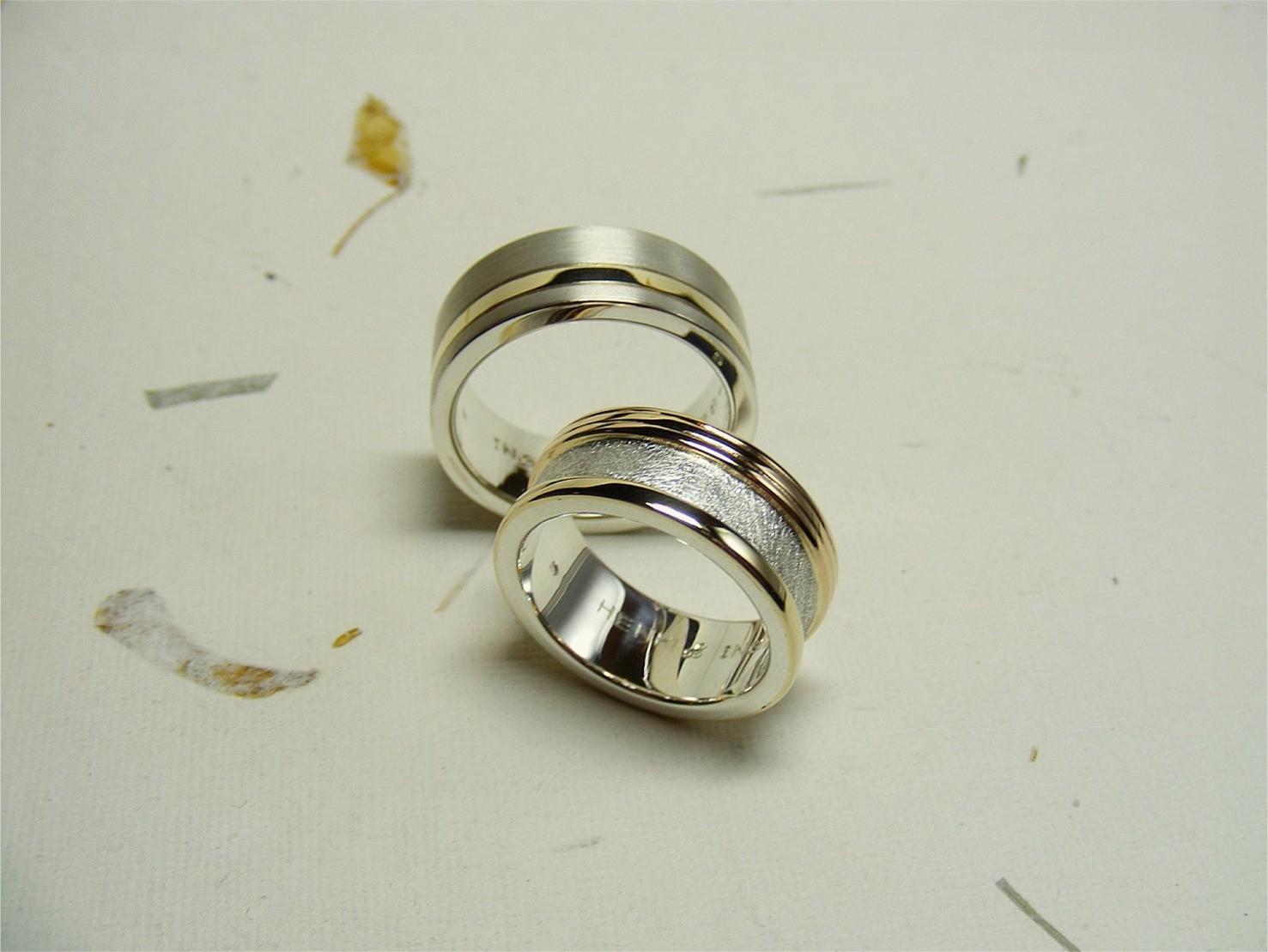 zilver en hergebruikte 14kt geelgouden ringen
