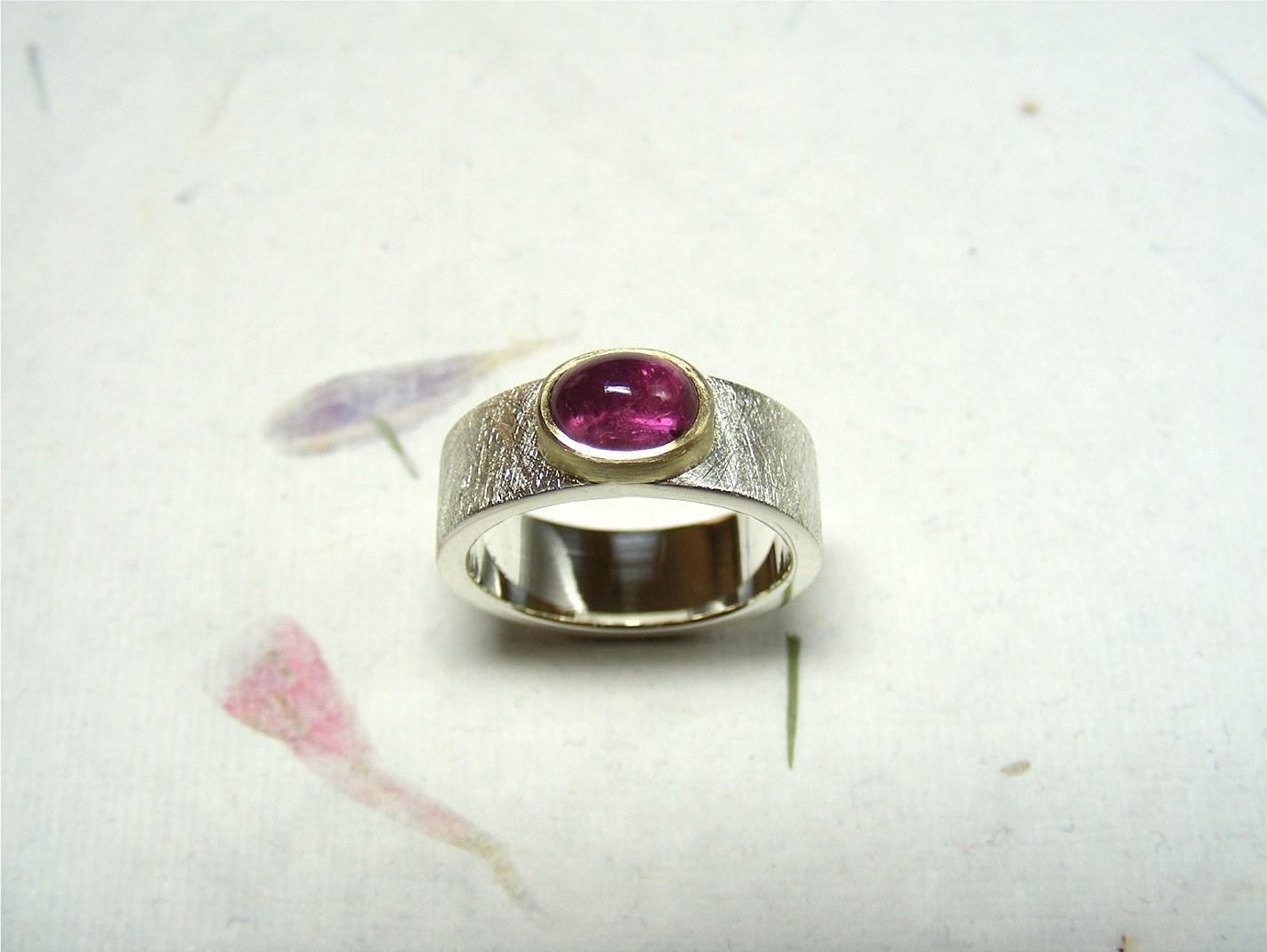 zilver, 14kt geelgoud en roze toermalijn