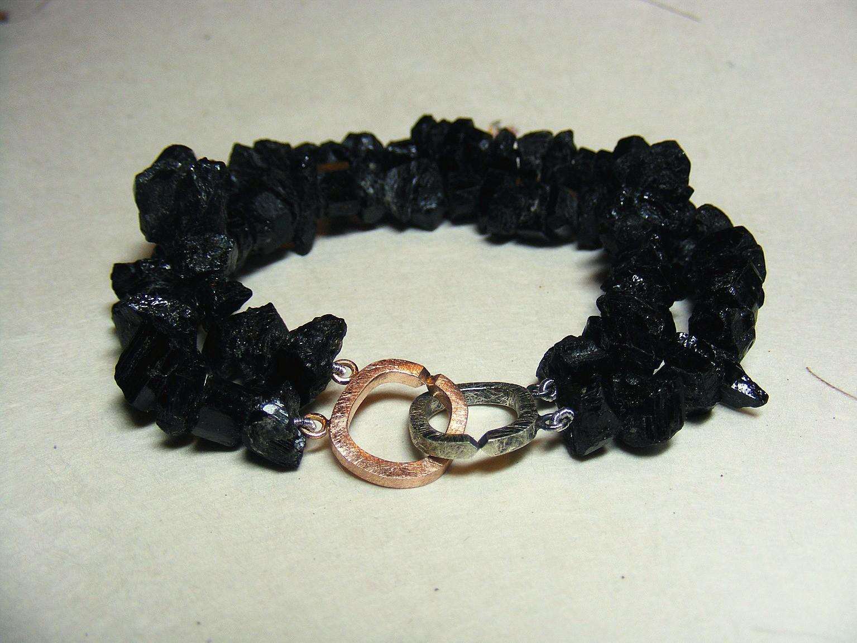 geoxideerd zilver, 14kt roodgoud en ruwe zwarte toermalijn