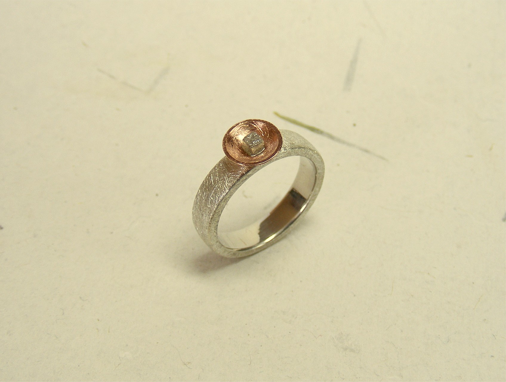zilver, 14kt roodgoud en ruwe diamant