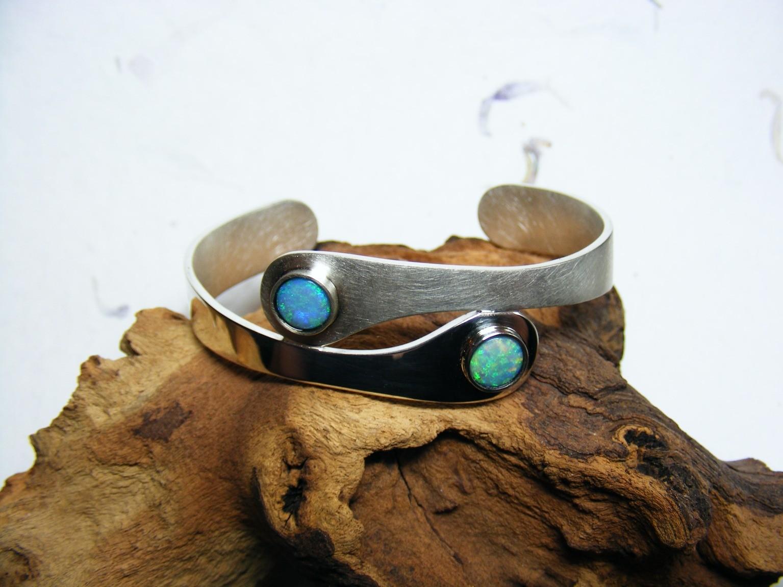 armband, zilver en opalen