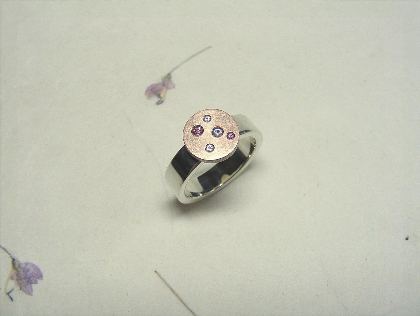zilver, 14kt roodgoud en roze en witte korunden
