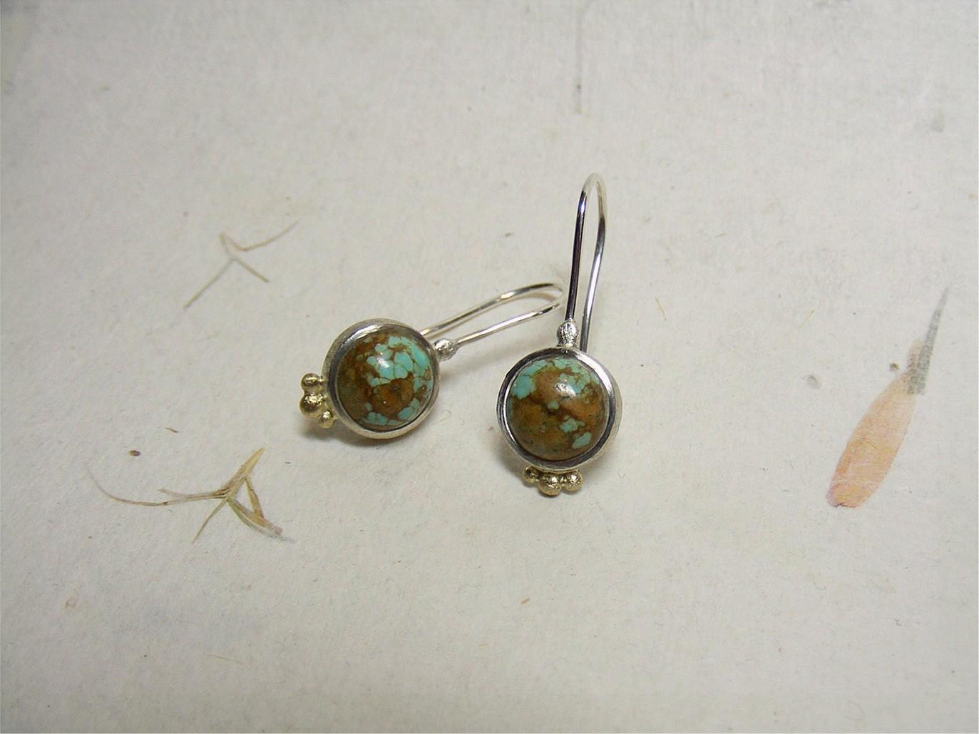 zilver, 14kt geelgoud en turquoisen (Tibet) €160, te koop