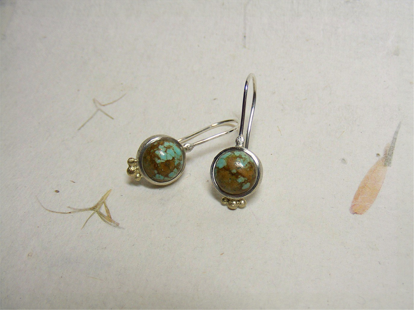 zilver, 14kt geelgoud en turquoisen (Tibet) VERKOCHT