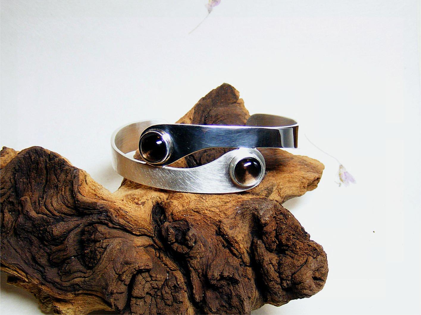 armband, zilver en rookkwartsen