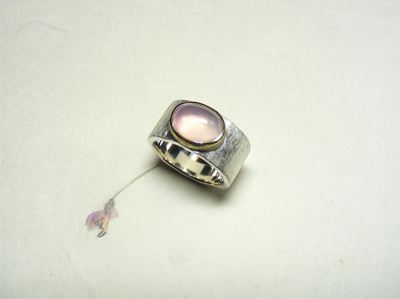 zilver, 14kt geelgoud en rozekwarts