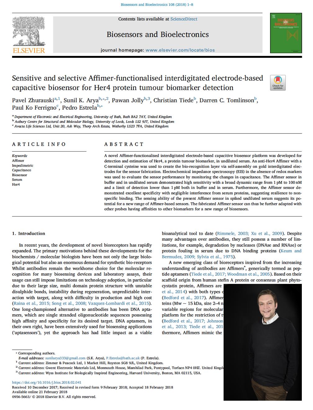 Zimmer and Peacock Ltd team member publication in Biosensors