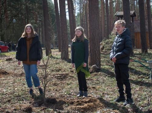 Die Baumprinz/essin/en Lotta (2019), Caroline (2021) und Jonas (2020) an einer der neu gepflanzten Esskastanien