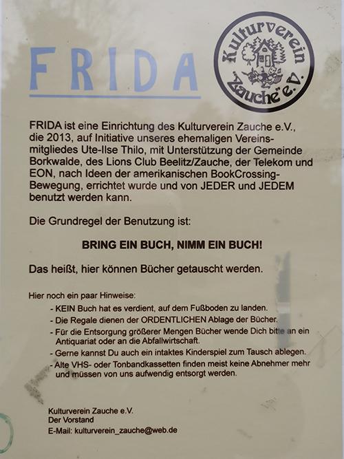 Der Kulturverein bittet darum, dass die an der Frieda aushängenden Regeln akzeptiert und beachtet werden