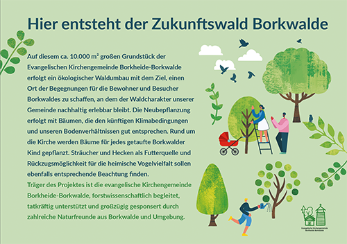 Waldkirche Borkwalde: Andacht am 03.04.21 mit Pfarrerin Almuth Wisch und anschließender Baumpflanzung im Zukunftswald
