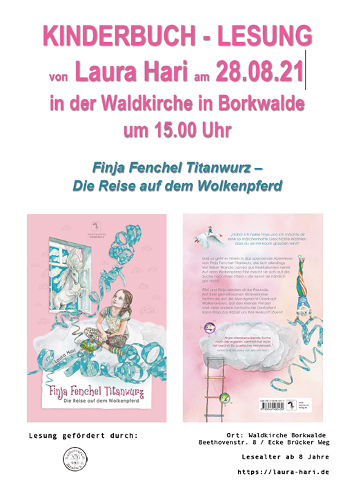 Kinderbuchlesung von Laura Hari am 28.08.21 in der Waldkirche Borkwalde