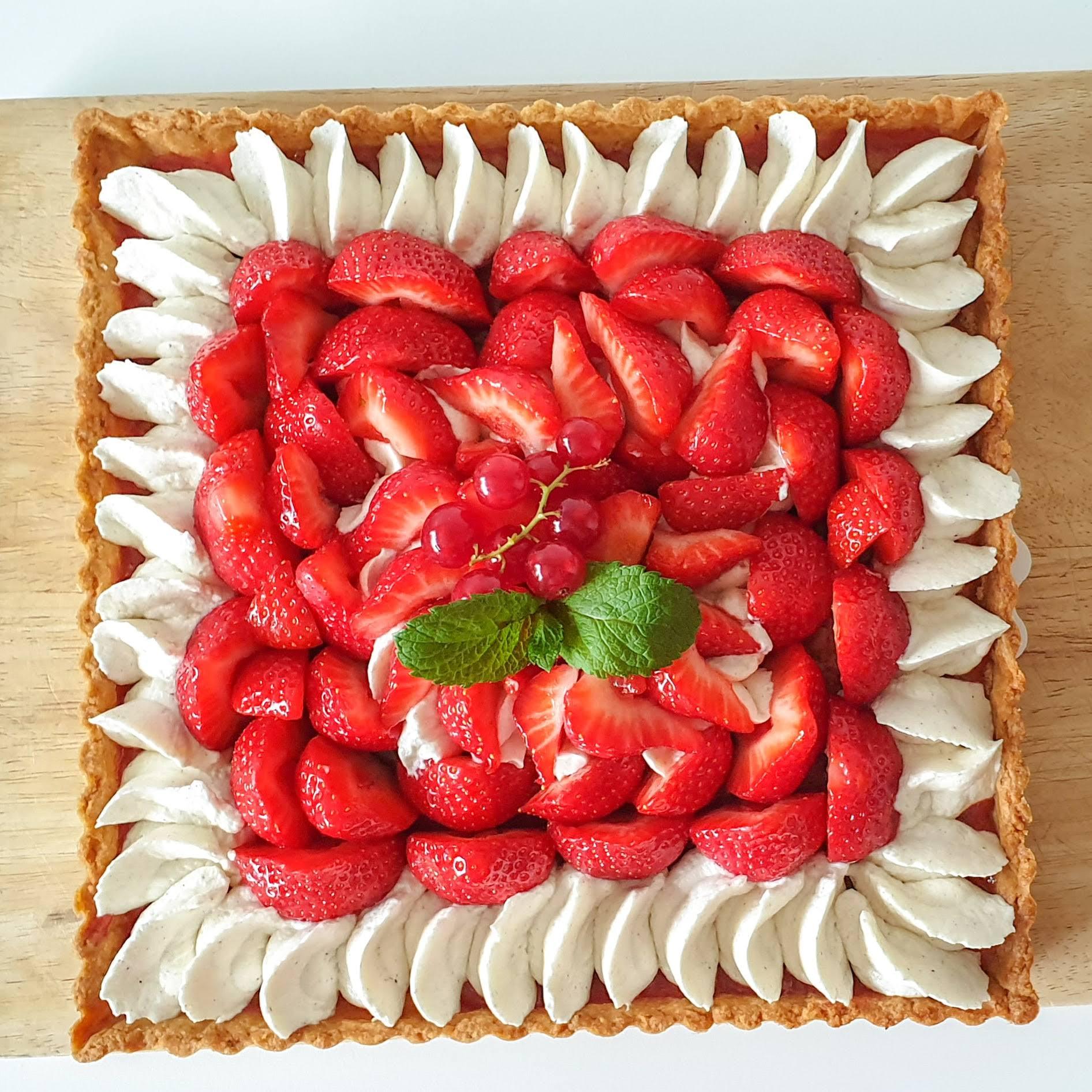 Tarte carrée aux fraises