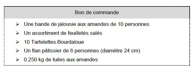 Bon de commande EP1 CAP pâtissier 2021