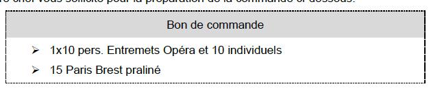 Bon de commande EP2 CAP pâtissier 2021
