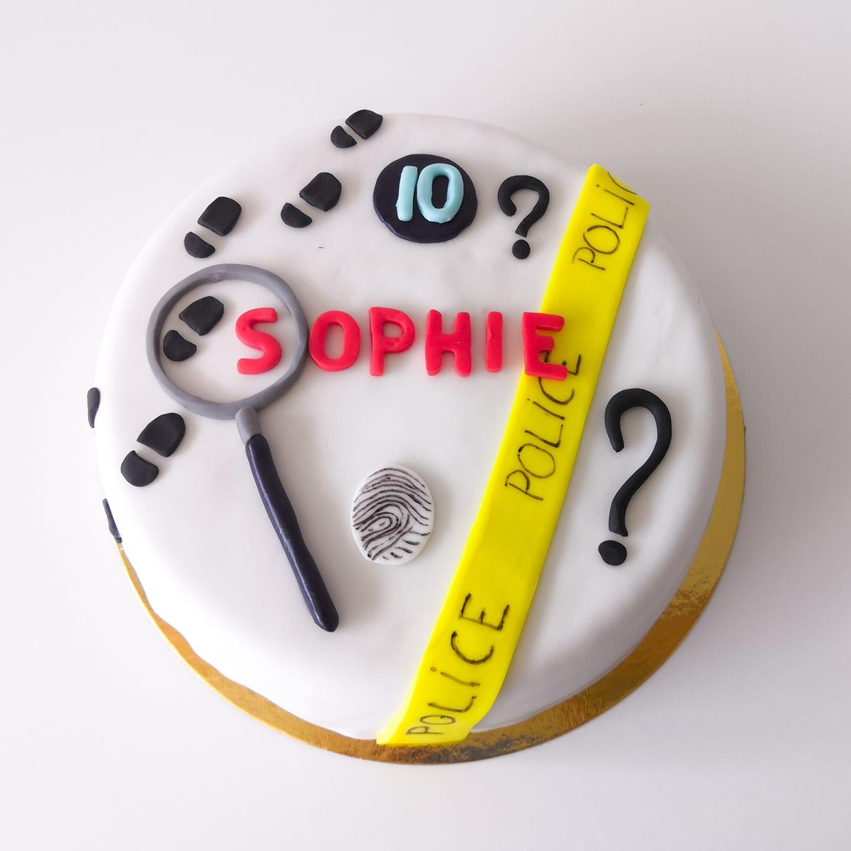 Gâteau anniversaire thème enquête police détective