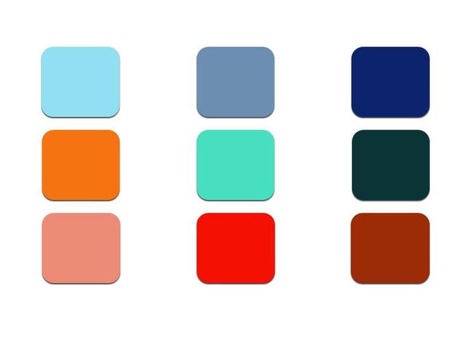 Die Knackigen: sind die lauteren Farben und stechen gerne alleine hervor – Rot, Classic Blau, Orange, Türkis
