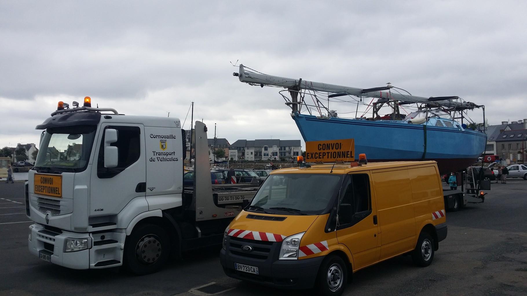 Transport de bateau en catégorie 2 avec voiture pilote