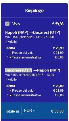 Volo Napoli Bucarest Andata e Ritorno