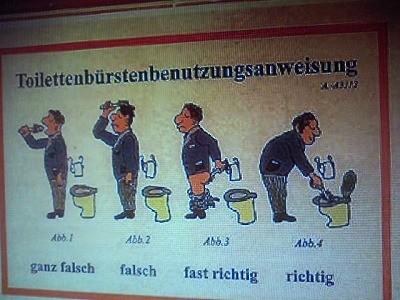 トイレのブラシの使い方左から・全然違う・違う・大分正解に近い・正解