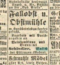18.8.1921 Anzeige Brennerei Schindler Badische Presse