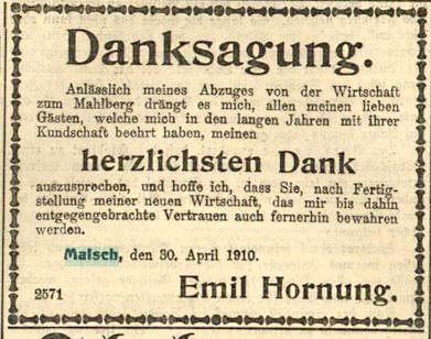 1910-04-39 Emil Hornung gibt Mahlberg auf - Volksfreund