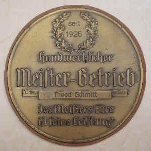 Ehrenplakette Meisterbetrieb Theo Schmitt