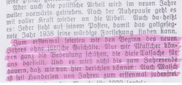 Auszug aus dem Gemeindeanzeiger von Anfang 1939